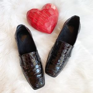 1803 Black Glass Croc Loafers Hand Made Leather 10